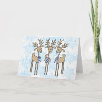 Light Blue Ribbon Reindeer Holiday Card
