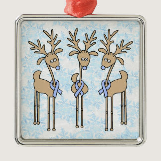 Light Blue Ribbon Reindeer Metal Ornament
