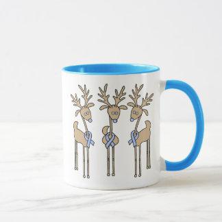 Light Blue Ribbon Reindeer Mug