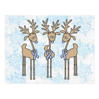 Light Blue Ribbon Reindeer Postcard