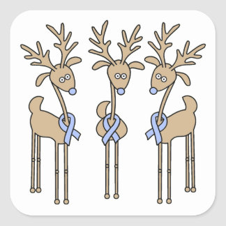 Light Blue Ribbon Reindeer Sticker