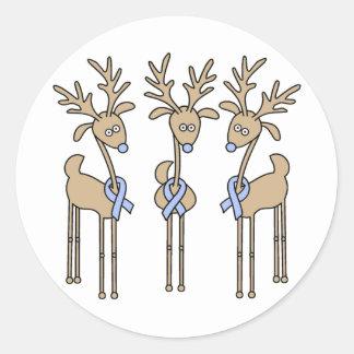 Light Blue Ribbon Reindeer Stickers