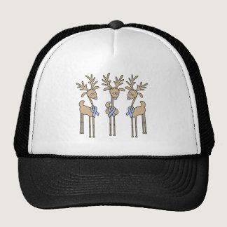 Light Blue Ribbon Reindeer Trucker Hat