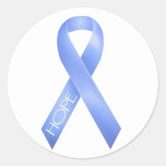 Light Blue Ribbon Round Stickers
