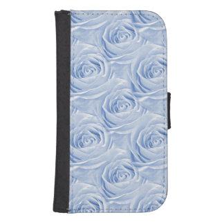 Light Blue Rose Center Floral Photo Pattern Galaxy S4 Wallet Case
