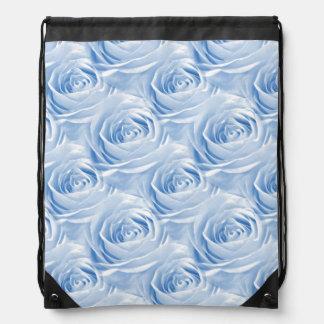 Light Blue Rose Center Wallpaper Pattern Drawstring Backpack