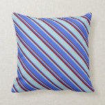 [ Thumbnail: Light Blue, Royal Blue, and Dark Red Colored Throw Pillow ]