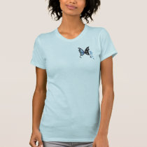 Light Blue scoop neck t-shirt w/small logo design