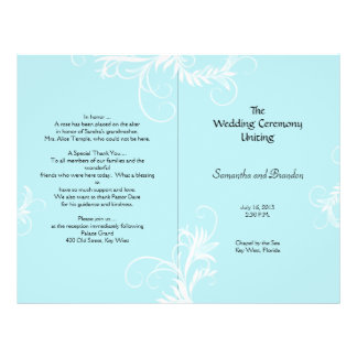 "Light Blue Scrollwork Folded Wedding Program 8.5"" X 11"" Flyer"