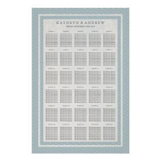 Light Blue Seigaiha Wedding/Event Seating Chart