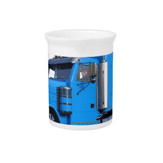Light Blue Semi Truck in Three Quarter View Beverage Pitcher