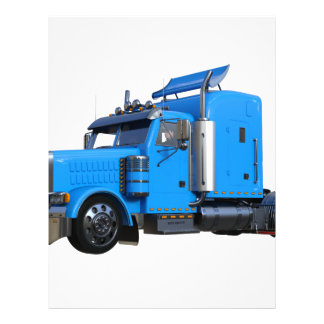 Light Blue Semi Truck in Three Quarter View Letterhead