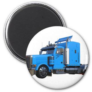 Light Blue Semi Truck in Three Quarter View Magnet