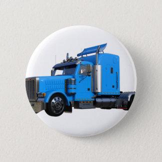 Light Blue Semi Truck in Three Quarter View Pinback Button