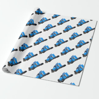 Light Blue Semi Truck in Three Quarter View Wrapping Paper