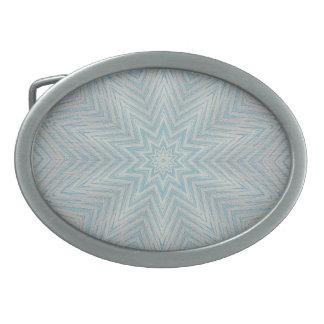 Light blue Silver Star Kaleidoscope Pattern Buckle Belt Buckles