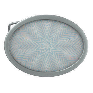 Light blue Silver Star Kaleidoscope Pattern Buckle Oval Belt Buckle