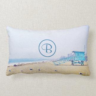 Light blue sky & sandy beach photo custom monogram lumbar pillow