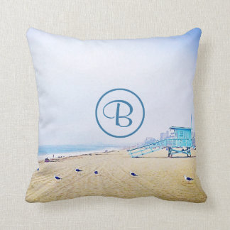 Light blue sky & sandy beach photo custom monogram throw pillow