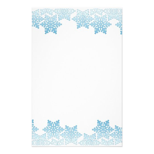 light blue snowflake border stationery zazzle com