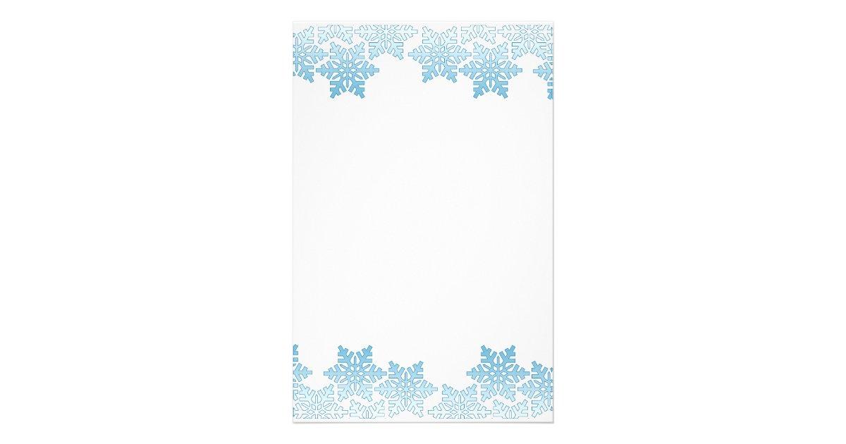 light blue snowflake border stationery zazzlecom