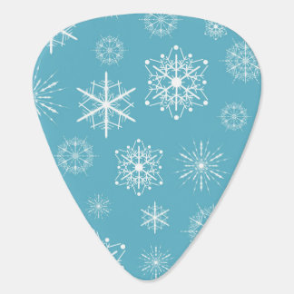 Light Blue Snowflake Christmas Design Guitar Pick