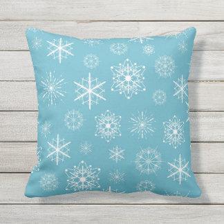 Light Blue Snowflake Christmas Design Outdoor Pillow