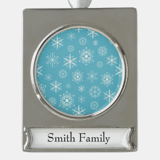 Light Blue Snowflake Christmas Design Silver Plated Banner Ornament