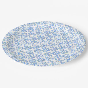 Light Blue Snowflake Pattern Paper Plates  sc 1 st  Zazzle & Christmas In Snow Lights Paper Plates | Zazzle