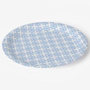 Light Blue Snowflake Pattern Paper Plates  sc 1 st  Zazzle & Christmas In Snow Lights Paper Plates | Zazzle