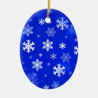 Light Blue Snowflakes Ceramic Ornament