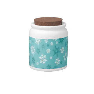 Light blue snowflakes design candy jars