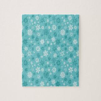 Light blue snowflakes design jigsaw puzzle