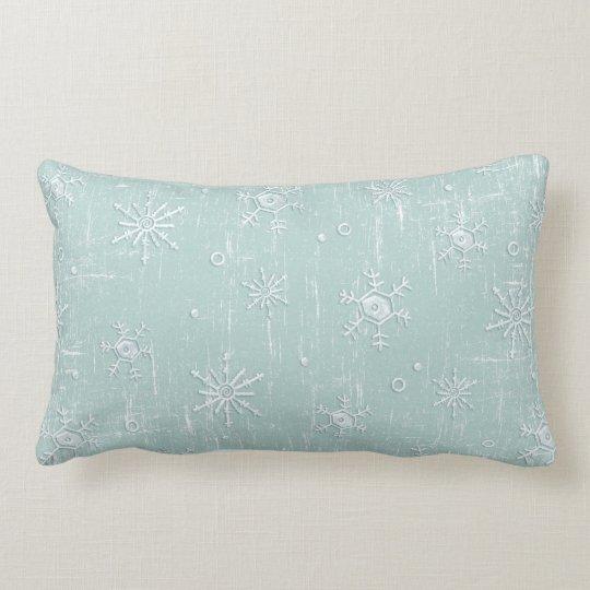 Light Blue Snowflakes Lumbar Pillow
