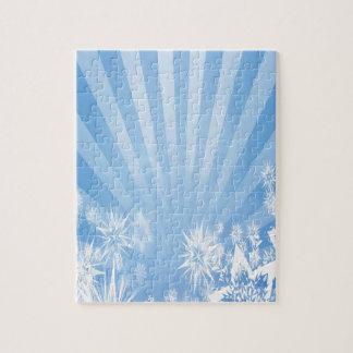 Light blue snowflakes Sunburst Design Jigsaw Puzzles