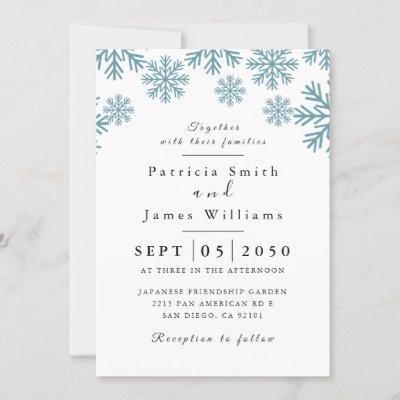 Light Blue Snowflakes Wedding Invitation