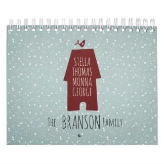 Light blue snowy dotted custom family names calendar