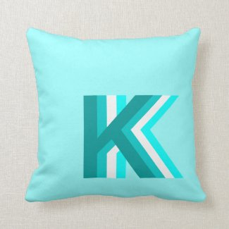 Light Blue Stacked Monogram Throw Pillow