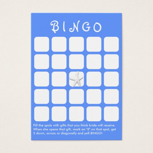 light blue star fish 5x5 bridal shower bingo card
