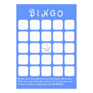 Light Blue Star Fish 5x5 Bridal Shower Bingo Card Large Business Cards (Pack Of 100)