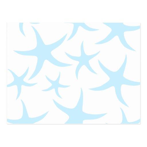 Light Blue Starfish Pattern. Postcard