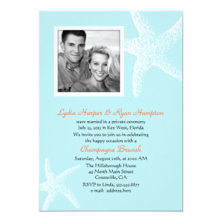 Light Blue Starfish Photo Template Reception Only Card