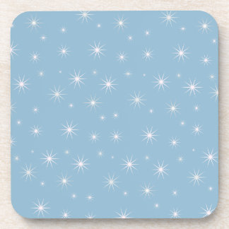 Light Blue Stars Cork Coaster