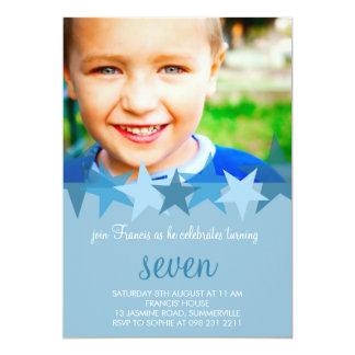 "Light Blue Stars Kids Photo Birthday Invitation 5"" X 7"" Invitation Card"