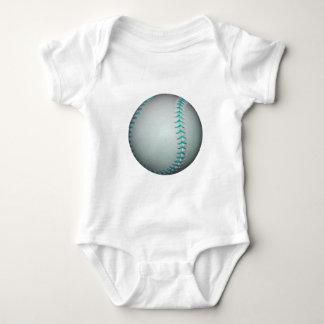 Light Blue Stitches Baseball / Softball Baby Bodysuit