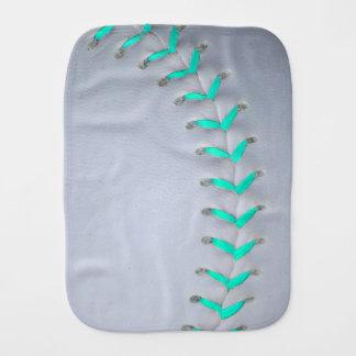 Light Blue Stitches Baseball / Softball Baby Burp Cloth