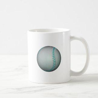 Light Blue Stitches Baseball / Softball Classic White Coffee Mug