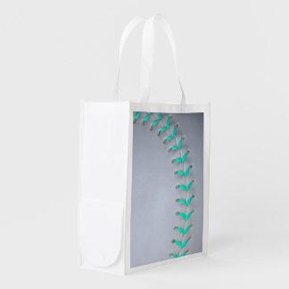 Light Blue Stitches Baseball / Softball Grocery Bag