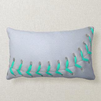 Light Blue Stitches Baseball / Softball Throw Pillow