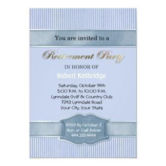Light Blue Stripe Retirement Party Invitations Custom Invitations